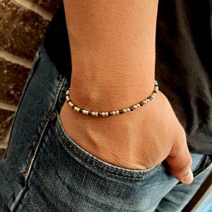 """צמיד חיתוך לייזר יהלום איטלקי צמיד עשוי מכסף 925 סטרלינג מצופה רודיום שחור וזהב 14 קרט גודל החרוזים 3 מ""""מ אורך הצמיד 17 ס""""מ + 2.5 ס""""מ"""