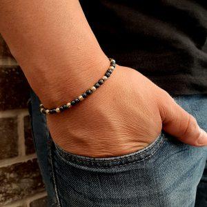 """צמיד חיתוך לייזר יהלום איטלקי צמיד עשוי מכסף 925 סטרלינג מצופה וזהב 14 קרט ורודיום שחור גודל החרוזים 4 מ""""מ אורך הצמיד 17 ס""""מ + 2.5 ס""""מ"""