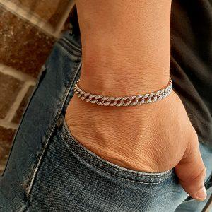צמיד חוליות משובץ שחור - צמידים לגבר - ארז תכשיטים