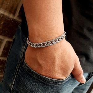 צמיד הדומה לצמיד אייל גולן - צמיד כסף עשוי מכסף עם שיבוץ אבני זירקון