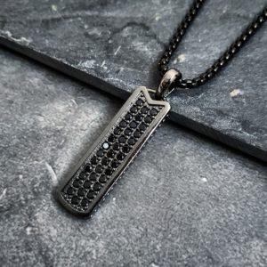 שרשרת טאג - שרשרת שחורה לגבר