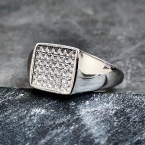 טבעת לגבר - טבעות חותם משובצת