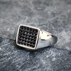 טבעת לגבר- ליבר כסף משובץ שחור