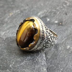 טבעת לגבר- טבעת עין הנמר כסף
