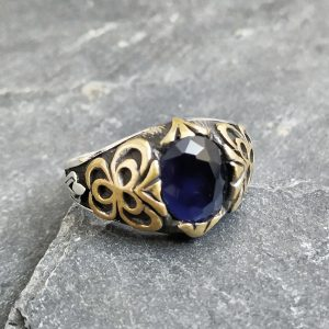 טבעת לגבר- אבי כחולה כסף
