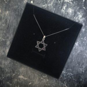 שרשרת מגן דוד שחורה לגבר - שרשראות - ארז תכשיטים