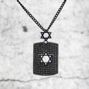 שרשרת מגן דוד מלבן שחור