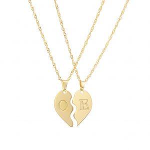 שרשרת חצי לב - שרשרת זהב