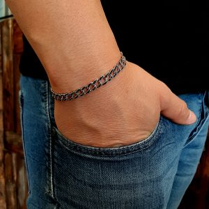 צמיד גורמט משובץ שחור - צמיד כסף לגבר - ארז תכשיטים