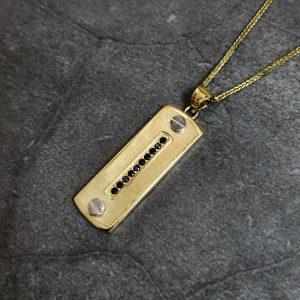 שרשרת זהב לגבר - טאג משובץ