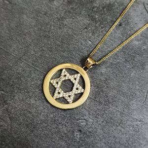 שרשרת זהב לגבר - מגן דוד מטבע