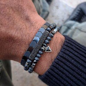 סט צמידים משולש - צמיד חרוזים לגבר - ארז תכשיטים
