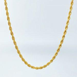 שרשרת לגבר - חבל חיתוך יהלום - זהב