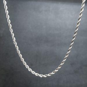 שרשרת לגבר - חבל חיתוך יהלום - כסף