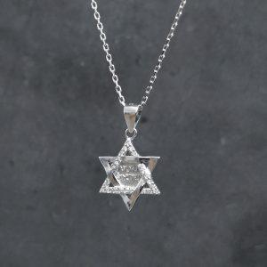 שרשרת כסף לגבר - מגן דוד שמע ישראל