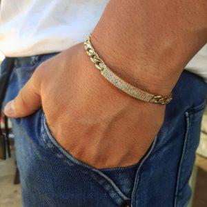 צמיד זהב לגבר - מלבן מיאמי