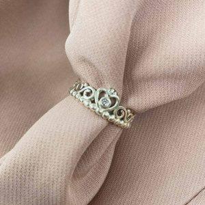 טבעת כסף - כתר לב