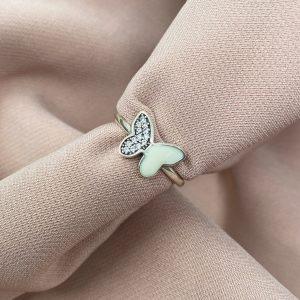 טבעת כסף - פרפר חצי משובץ