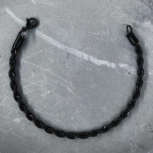 צמיד גורמט לגבר- חבל סופר עבה - שחור