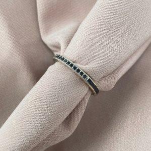 טבעת כסף - שאנל חצי משובצת