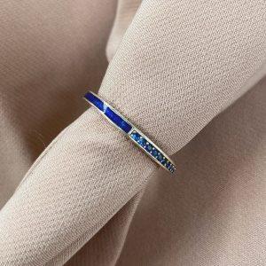 טבעת כסף - שאנל חצי משובצת - כחול