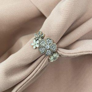 טבעת כסף - פרחים עפ זירקון