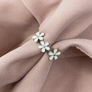 טבעת כסף - פרחים לבנים