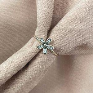 טבעת כסף - פרח משובץ