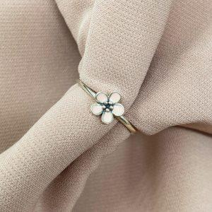 טבעת כסף - פרח ורוד