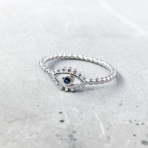 טבעת כסף - עין שחורה