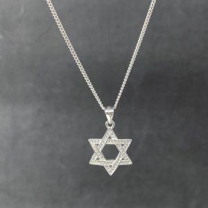 שרשרת כסף 925 - מגן דוד - משובץ